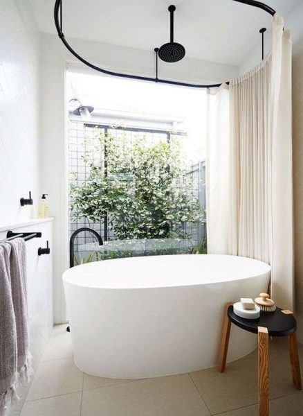 free standing tub, shower curtain, freestanding tub faucet, round freestanding tub, cast iron tub, acrylic bathtub
