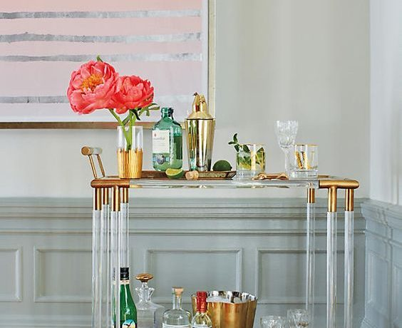 bar cart, how to style a bar cart, acrylic bar cart, gold bar cart