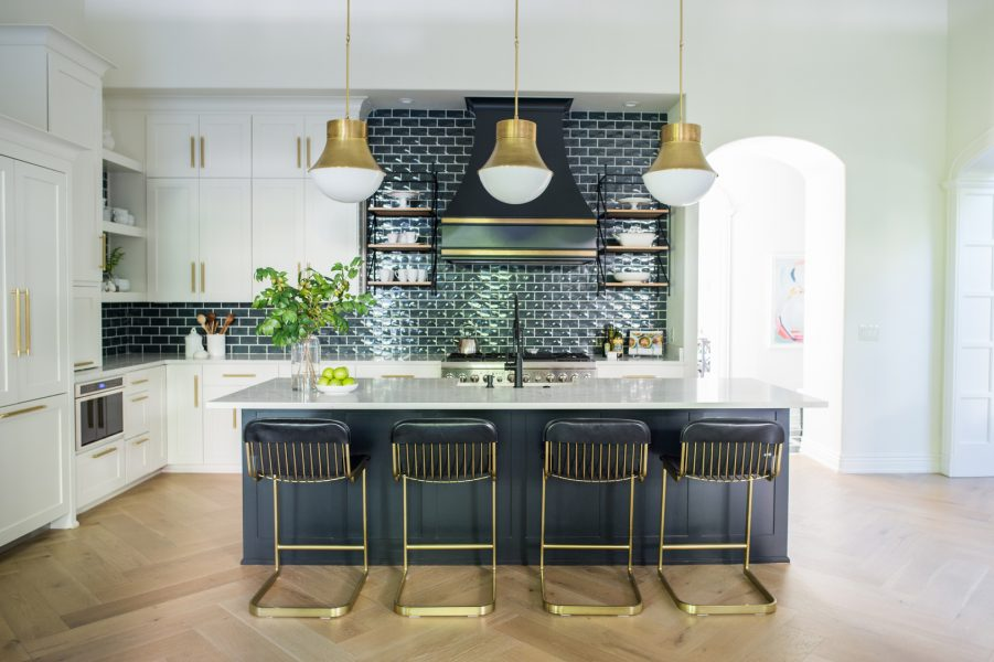 kitchen island, kitchen remodel, kitchen barstools, kitchen stools, gold kitchen light fixtures, blue kitchen tile, kitchen backsplash