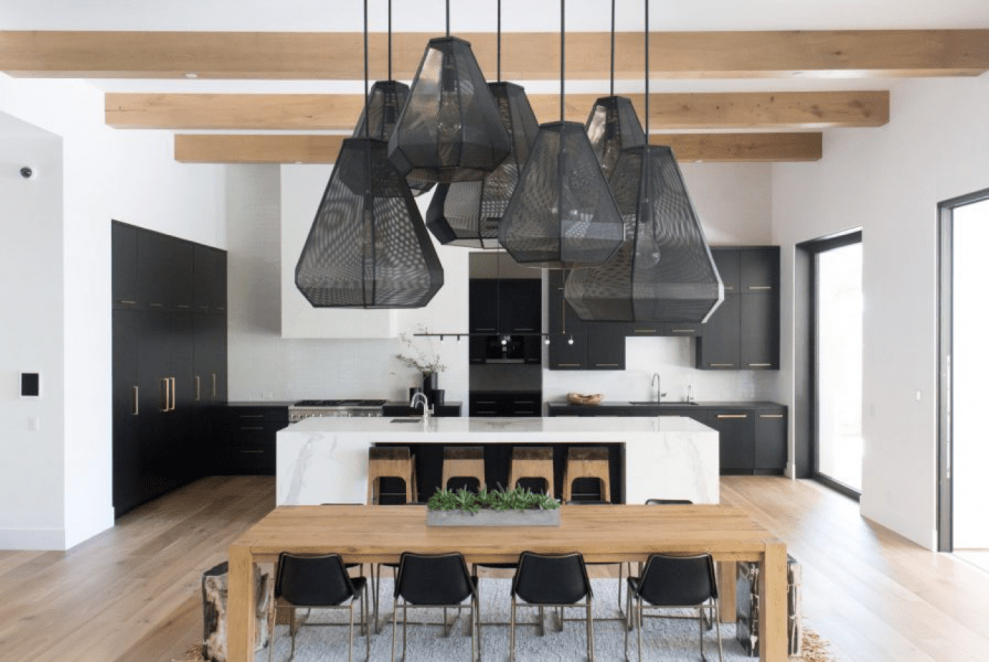 black bold light pendant kitchen