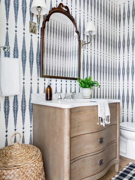 curved vanity, modern farmhouse bathroom, bathroom wallpaper, bathroom vanity