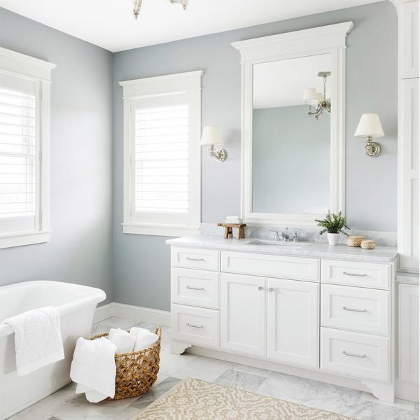 free standing tub, white vanity, marble vanity, double vanity, bathroom vanity, bathroom remodel, blue bathroom