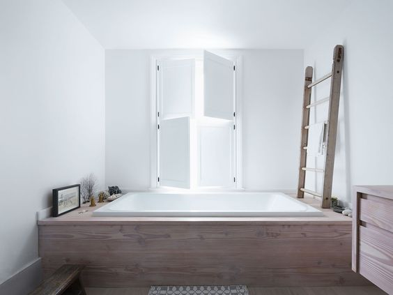 bathroom remodel, built in tub, drop in tub, wood built in tub