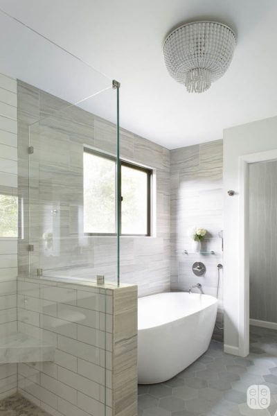 freestanding tub, walk in shower, glass shower door, bathroom remodel, hexagon tile, hexagon bathroom tile