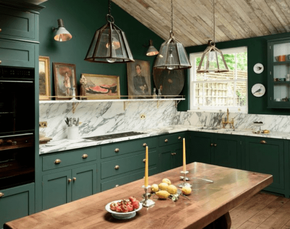 green and marble kitchen