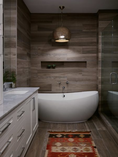 walk in shower, bathroom tile, bathroom remodel, freestanding tub, built in tub, shower niche, shower nook