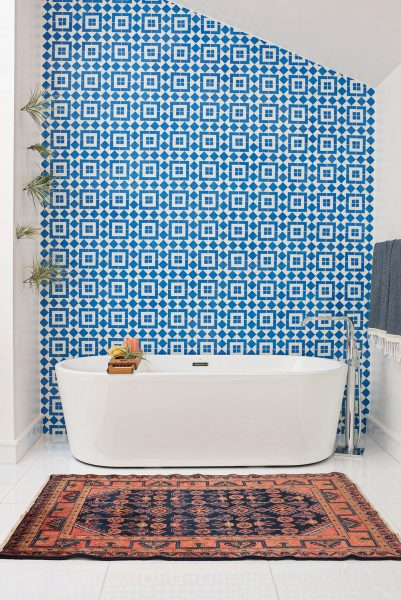 freestanding tub, patterned tile, bathroom tile, blue bathroom tile, blue spanish tile, spanish tile