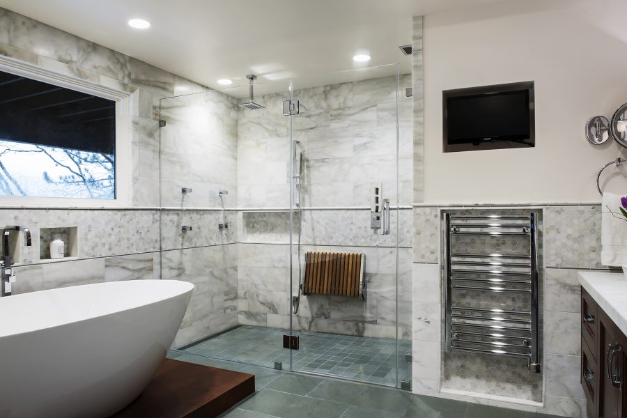 freestanding tub, walk in shower, marble tile