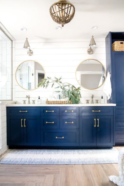 blue bathroom vanity, blue vanity, double vanity, gold hardware, gold bathroom hardware