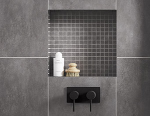 grey tiled square shower niche