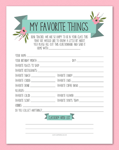 photo about Teacher Favorite Things Questionnaire Printable known as Printables Place Mother Rescue