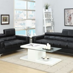Set Of Leather Sofas Sofa Bed Good Quality 2 Pcs Black Bonded Rooms By Les