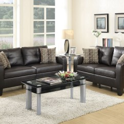 Espresso Bonded Leather Reclining Sofa Loveseat Set Chocolate Brown Cushions 2 Pcs Rooms By Les