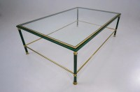 Malachite coffee table with brass details, Belgo Chrome