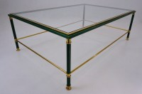 Malachite coffee table with brass details, Belgo Chrome ...