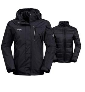 Wantdo Women's 3-in-1 Waterproof Ski Jacket Interchange Windproof Puffer Liner Warm Winter Coat Insulated Short