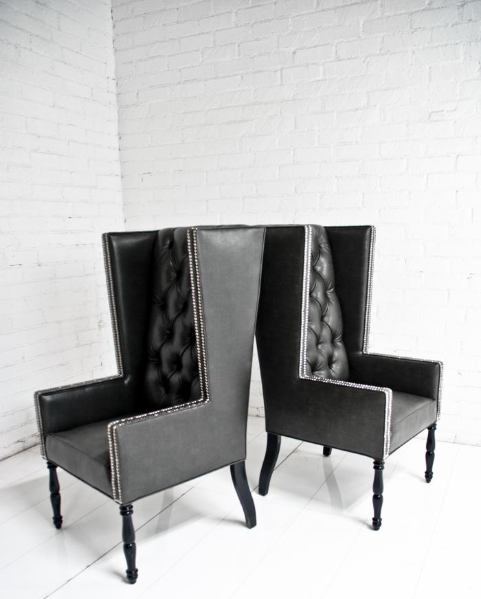 tall dining table and chairs dimensions cushioned desk chair www.roomservicestore.com - ultra mod wing in faux black leather