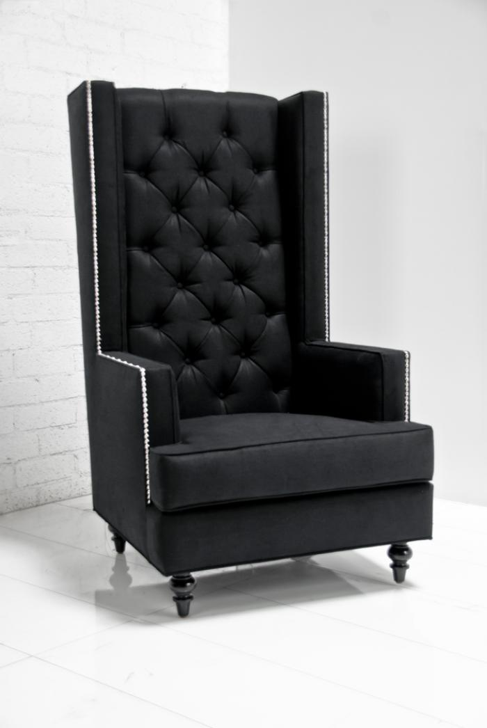 traditional wingback chair where to make cushions www.roomservicestore.com - tall boy modern wing in black tweed