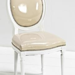 Louis Dining Chairs Pottery Barn Hang Around Chair Cover Www.roomservicestore.com - In Vanilla Faux Patent Leather