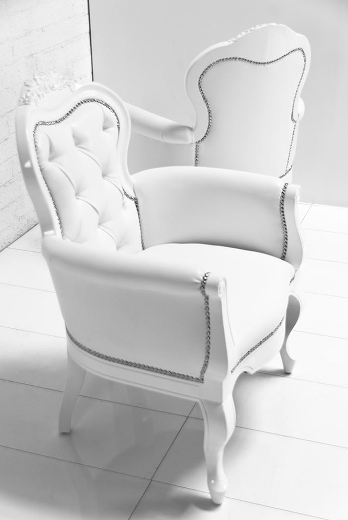 wwwroomservicestorecom  Cannes Chair in White Faux Leather