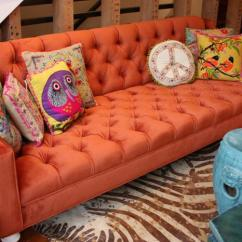 Tufted Sofas On Sale Sofa Seat Spring Repair Www.roomservicestore.com - Audrey In Burnt Orange Velvet