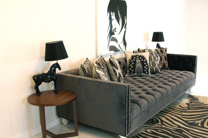 wwwroomservicestorecom  Tufted Deep Sofa in Charcoal Velvet