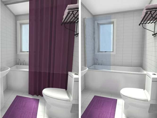 Bathroom Shower Curtain Vs Frameless Glass Tub Panel Before After