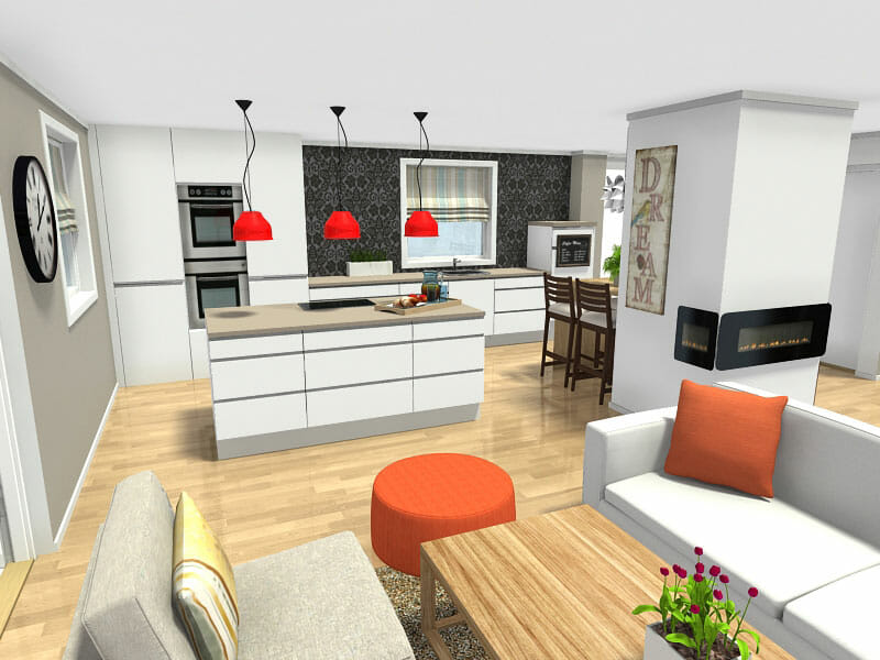 open living room and kitchen designs decorating ideas with brown leather furniture plan your design roomsketcher blog idea white center island to space