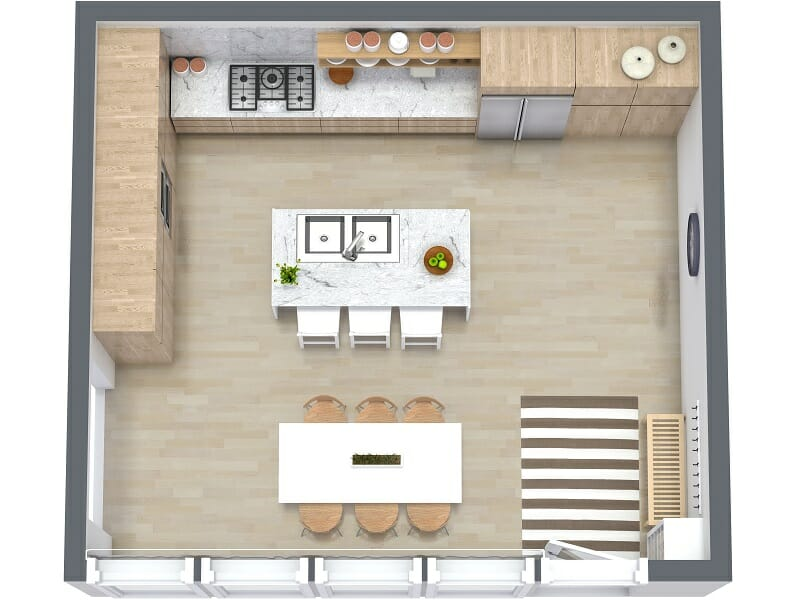 kitchen plans cheap rugs 7 layout ideas that work roomsketcher blog visualize your in 3d with a tool
