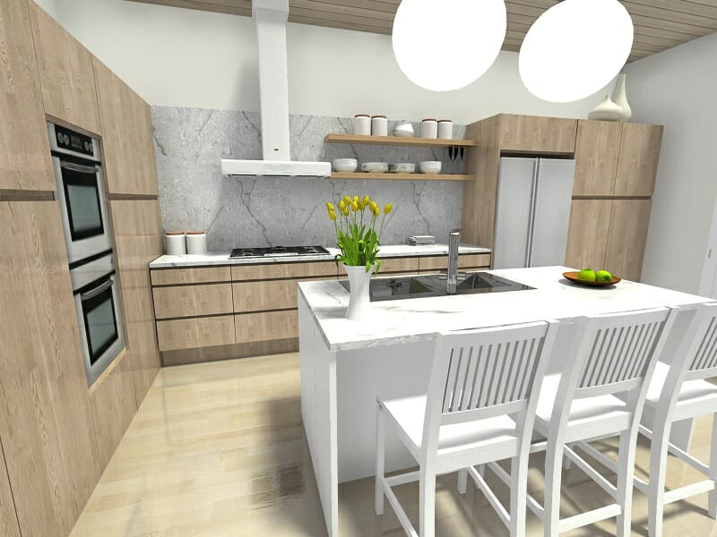 kitchen layout ideas white porcelain undermount sink 7 that work roomsketcher blog locate the stove or cooktop on an exterior wall for easy ventilation