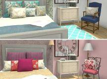 RoomSketcher Room Planner - Traditional bedroom design in blue and pink color schemes