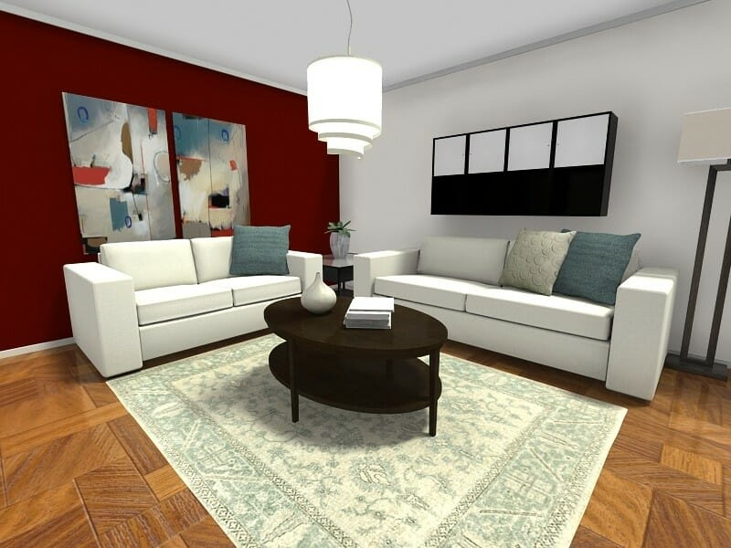 dark sofa in small living room sofas for bedrooms uk 7 ideas that work big roomsketcher blog furniture layout with red accent wall