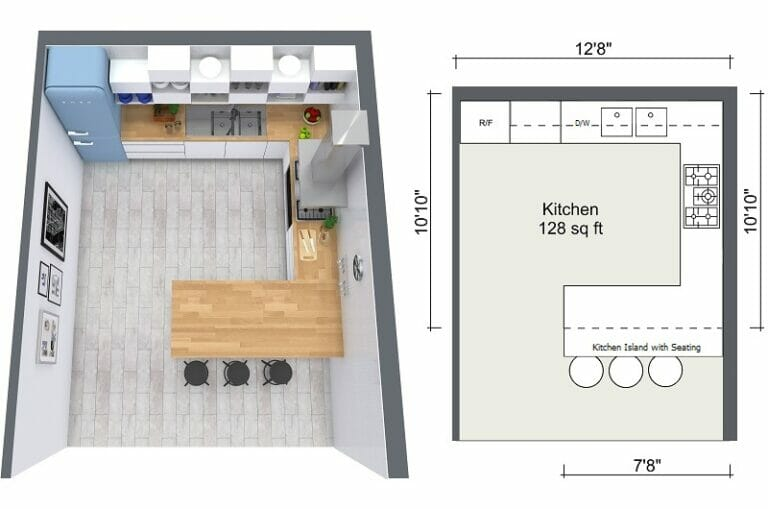 planning a kitchen island americast sink 4 expert design tips roomsketcher blog 2d and 3d floor plan of layout