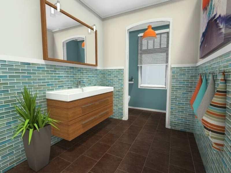Duvara asılı makyaj masası ve yalak lavabolu banyo tasarımı fikri