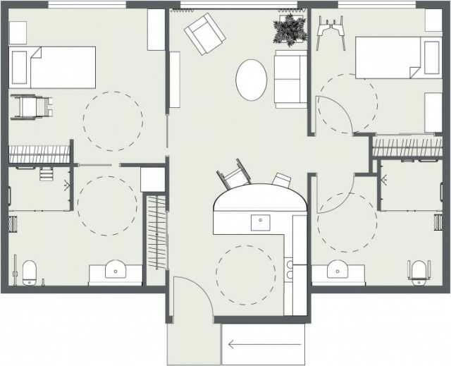 Assisted Living Two bedroom Two Bedroom 2D Floor Plan