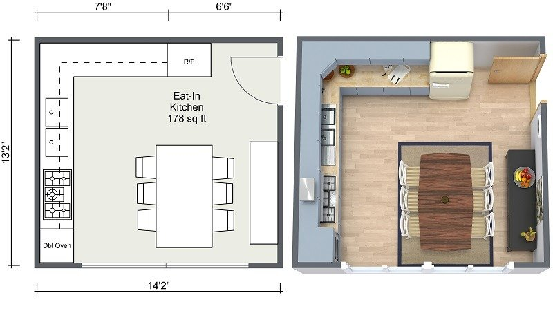 kitchen plans copper faucets ideas roomsketcher eat in layout 2d and 3d floor