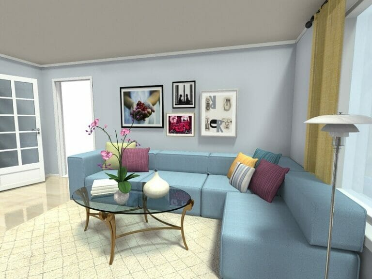 small living room ideas blue how to decorate rectangular shaped roomsketcher art wall above sofa