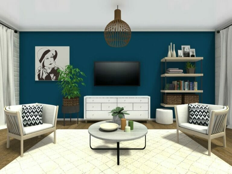 small living room ideas blue indian idea roomsketcher with dark wall color and corner sofa