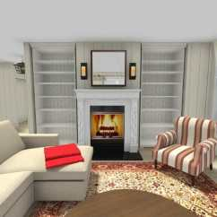 Design Small Living Room With Fireplace Tall Floor Vases For Ideas Roomsketcher Feature Wall And Built In Shelves