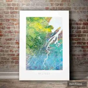 Etsy gift guide Belfast map watercolour print