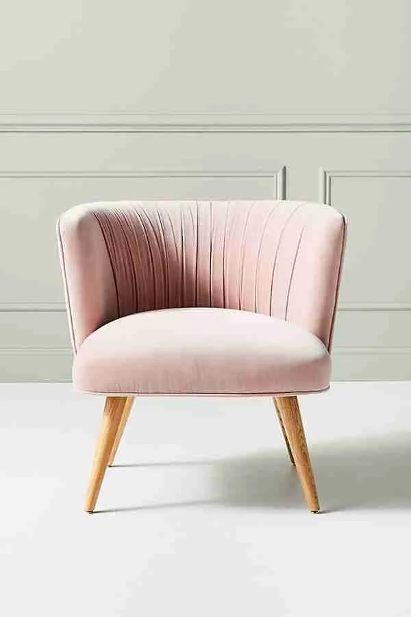 Anita occasional chair pink velvet Anthropologie