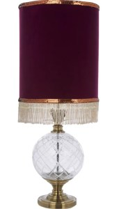 TK Maxx velvet fringed glass lamp