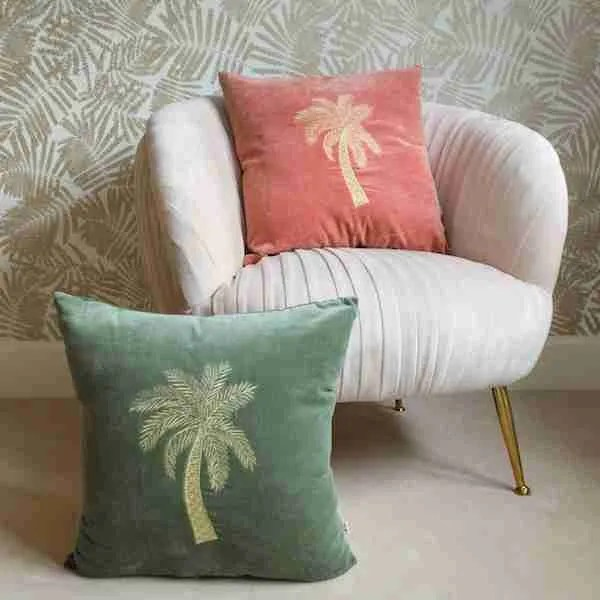 AUDENZA, Embroidered Velvet Palm Tree Cushion £46 Each, 2133594