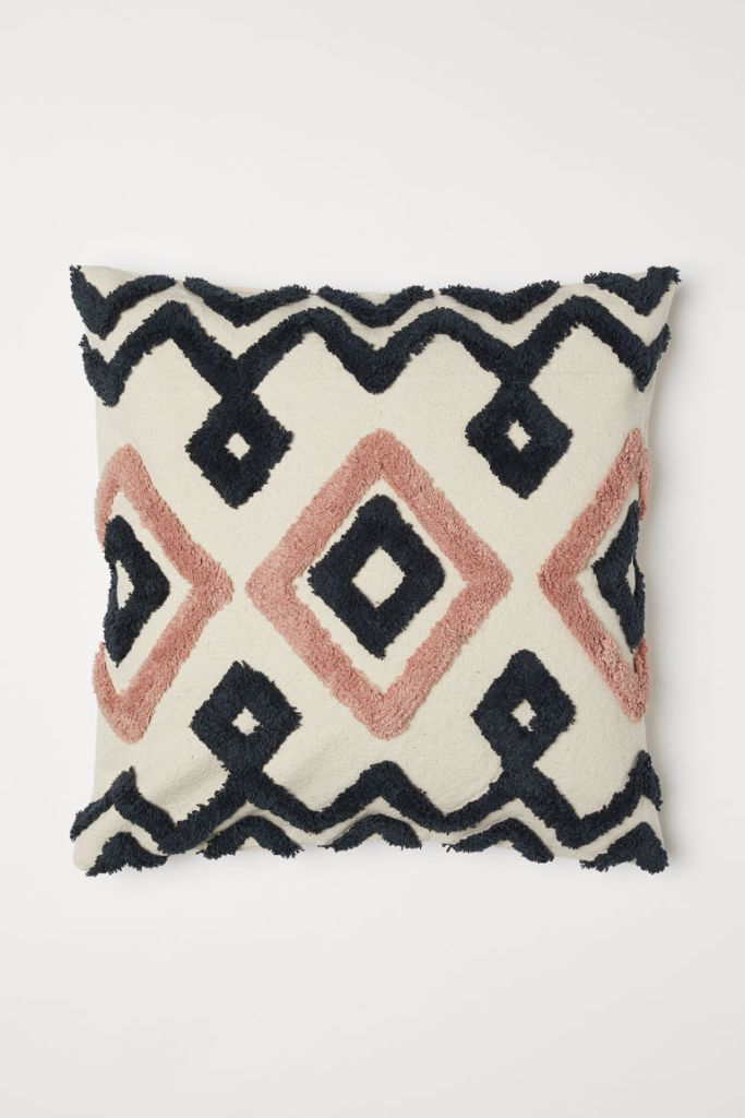 H & M textured cushion coral interiors Roomy Home