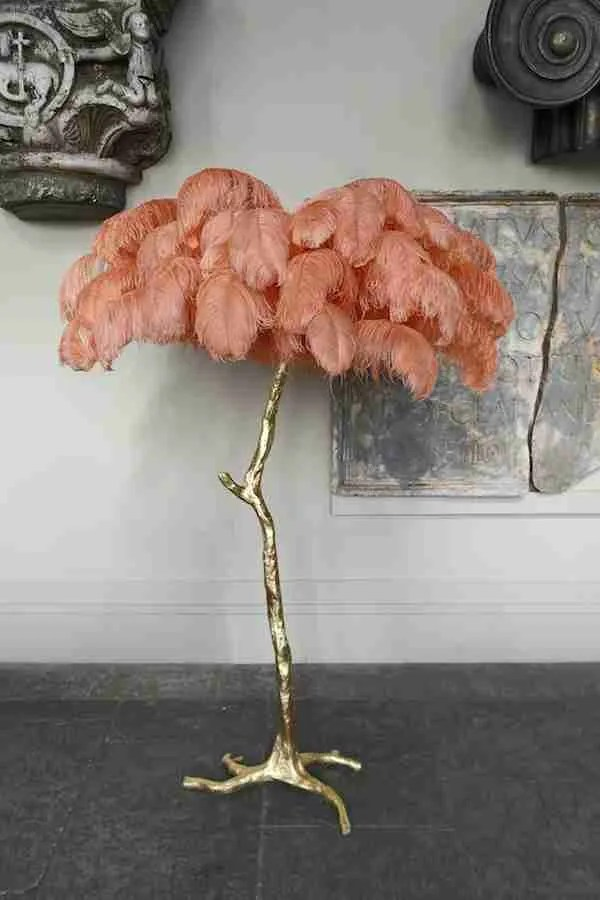 A Modern Grand Tour - Coral - Ostrich Feather Floor Lamp - Gold Base Sweetpea and Willow