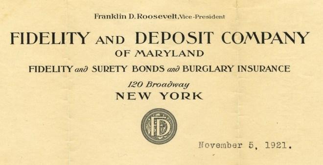 Roosevelt's letterhead at Fidelity, 1921.