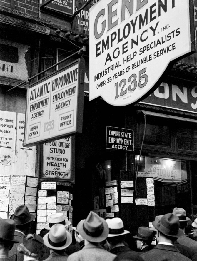 Employment agency on Sixth Avenue. New York City 1937.