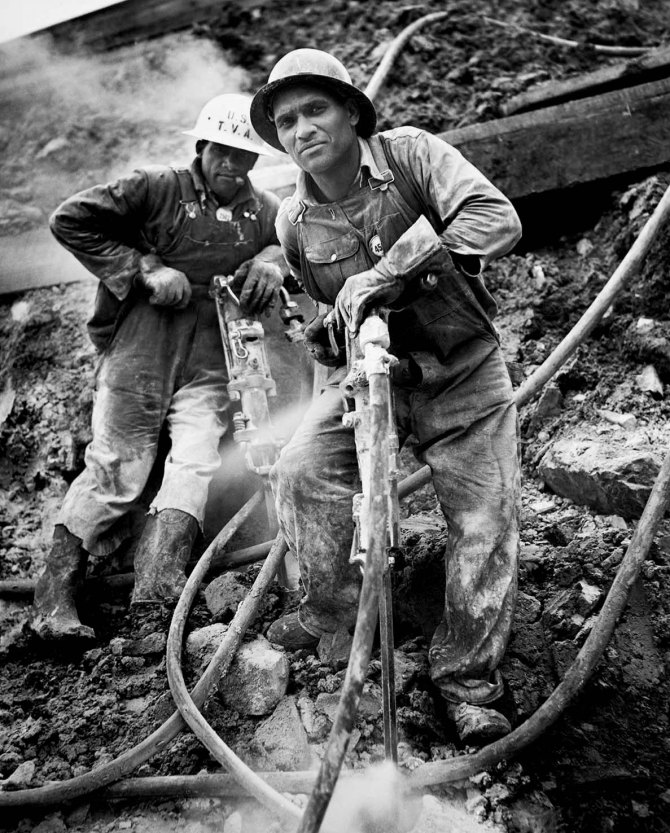 Pneumatic drill operators on Tennessee Valley Authority Douglas Dam project, Tennessee. 1942.