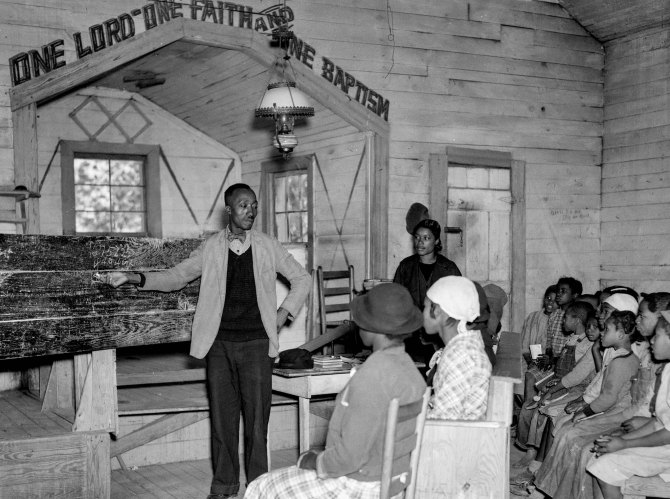Conducting school in the church.Gees Bend, Alabama. 1937.