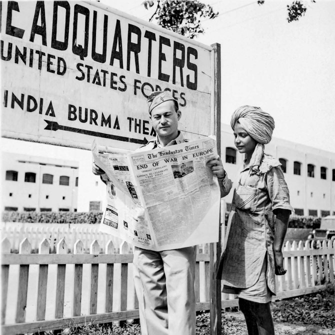 Lt. Rothstein with U.S. Army Signal Corps in India,reading news of the end of the war in Europe.May, 1945.